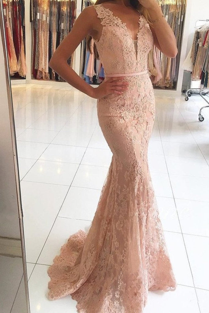 2019 V Neck Prom Dresses Mermaid Lace With Applique And Sash Sweep Train