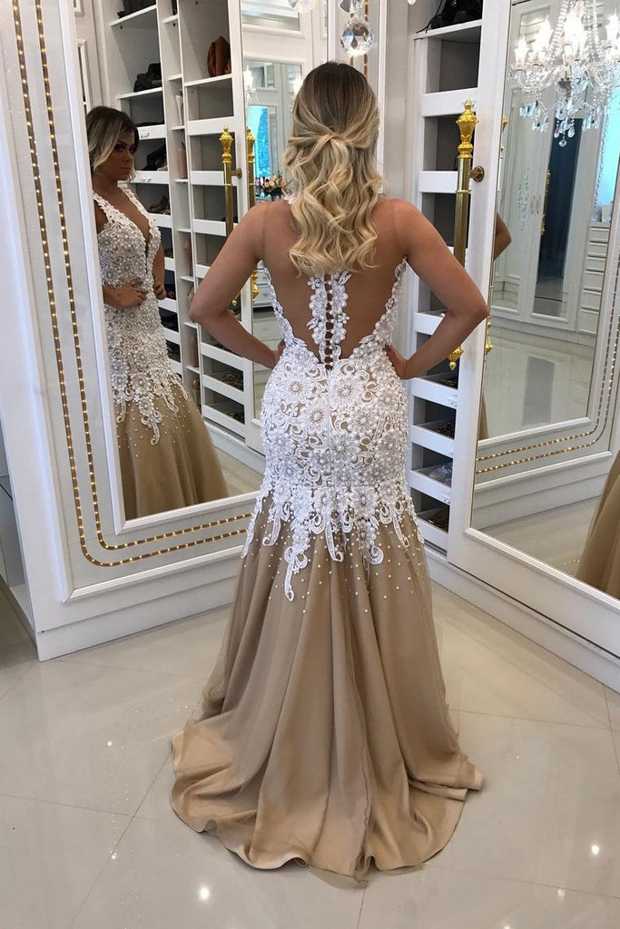 2019 Mermaid Prom Dresses Scoop Tulle With Applique And Pearls