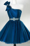 A Line One Shoulder Tulle Homecoming Dress Blue Tulle Short Prom Dress with Beading WK856