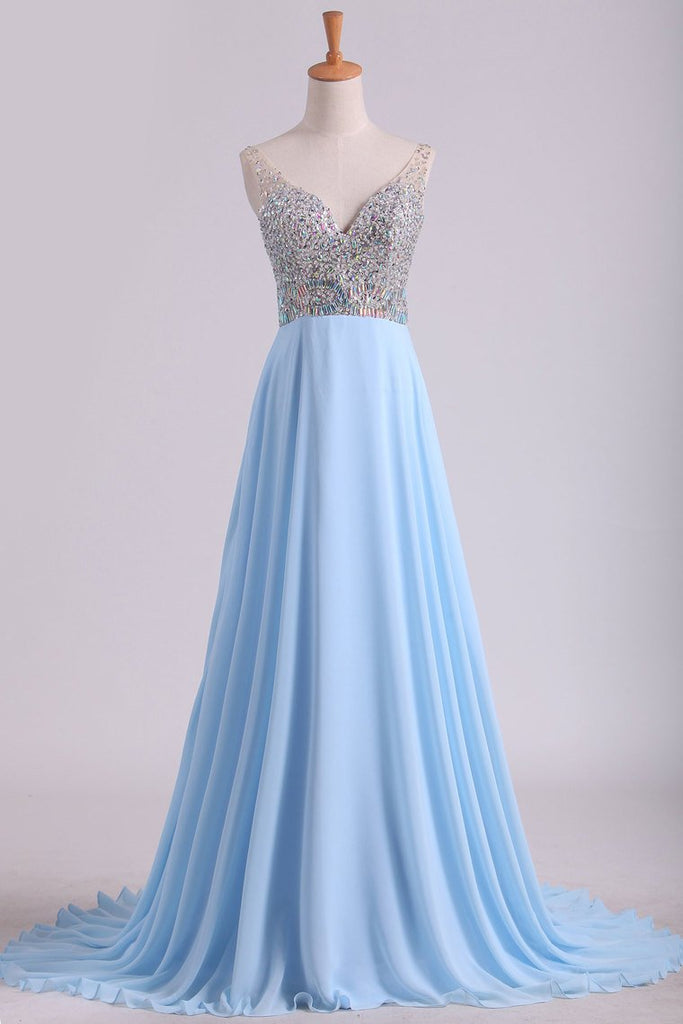 2019 Prom Dresses V Neck Beaded Bodice Sweep Train Chiffon A Line