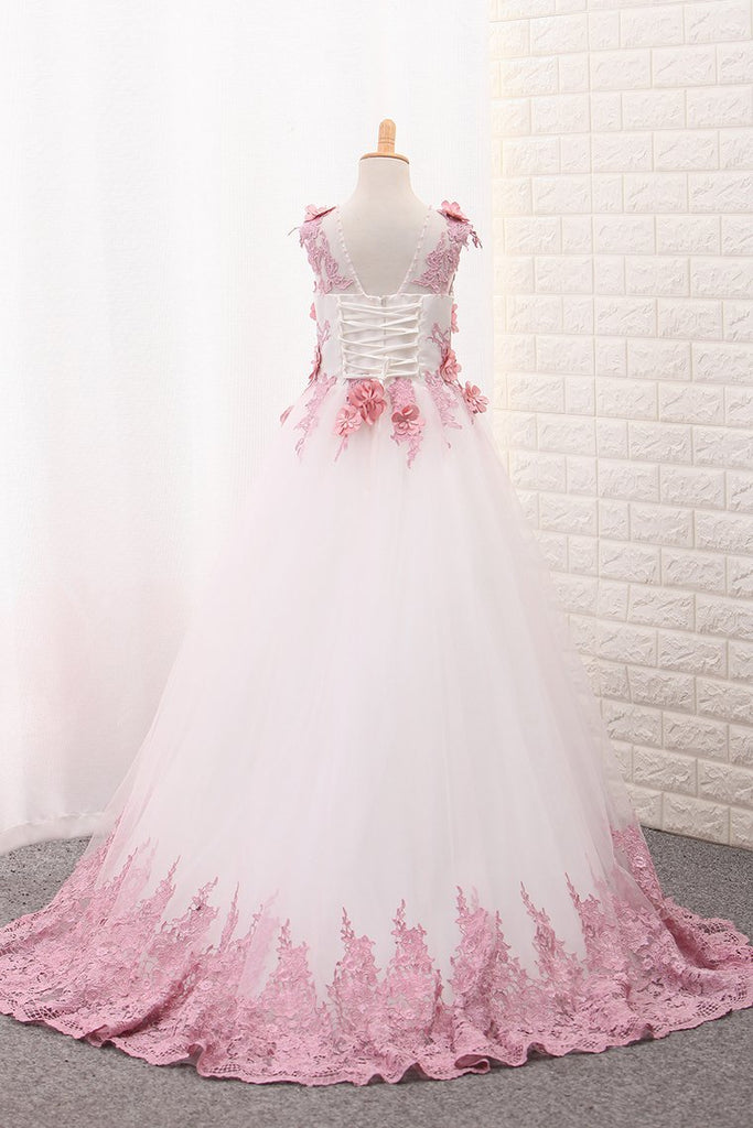 Scoop A Line Tulle Flower Girl Dresses With Applique And Handmade Flowers
