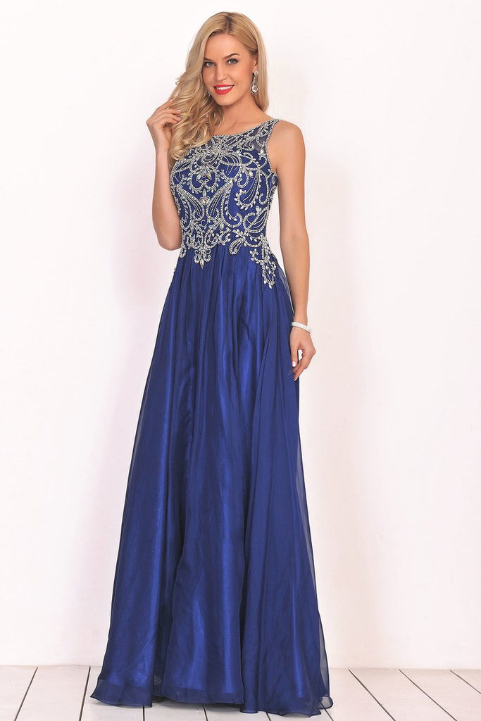 2019 A Line Prom Dresses Scoop Chiffon With Beading Sweep Train
