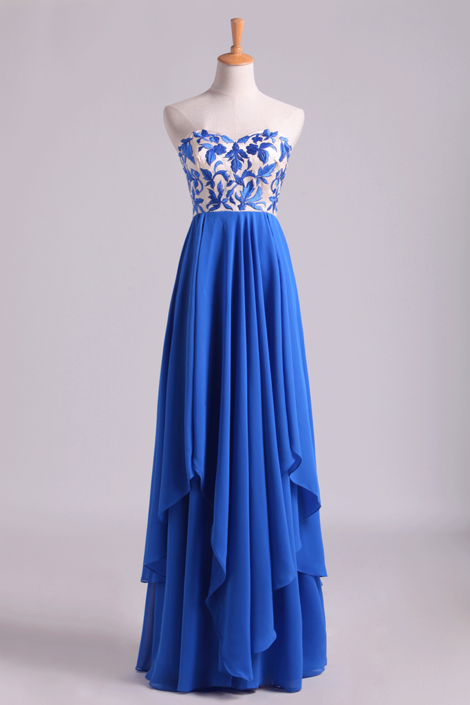 2019 Floor Length Chiffon Prom Dresses Seetheart Princess With Embroidery