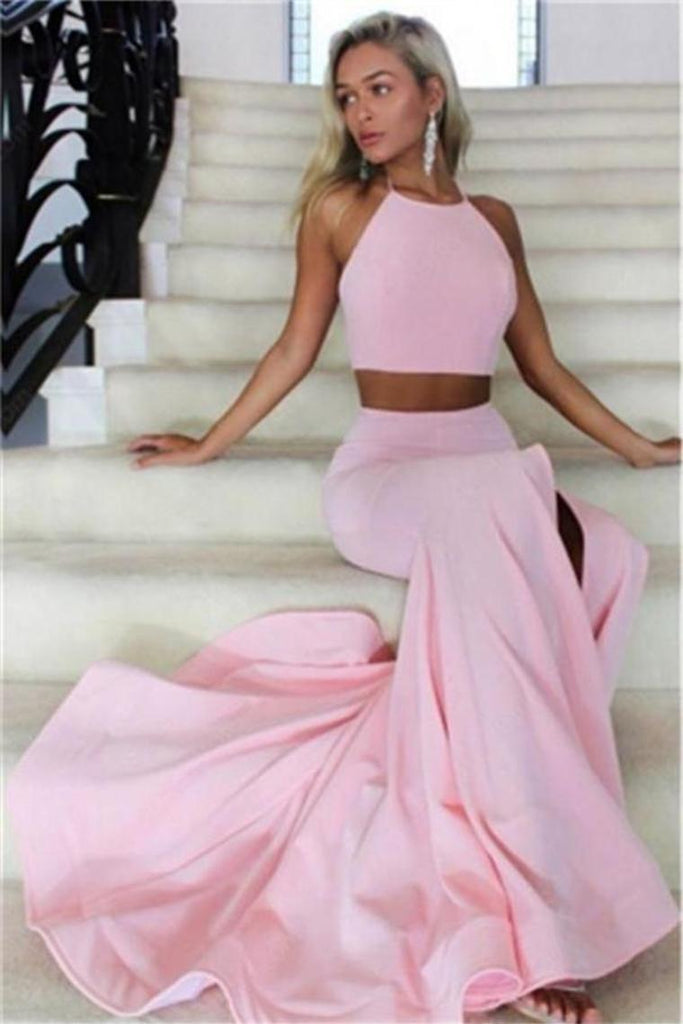 2 Pieces Pink Open Back Halter Long Evening Dresses Beautiful Prom Dresses