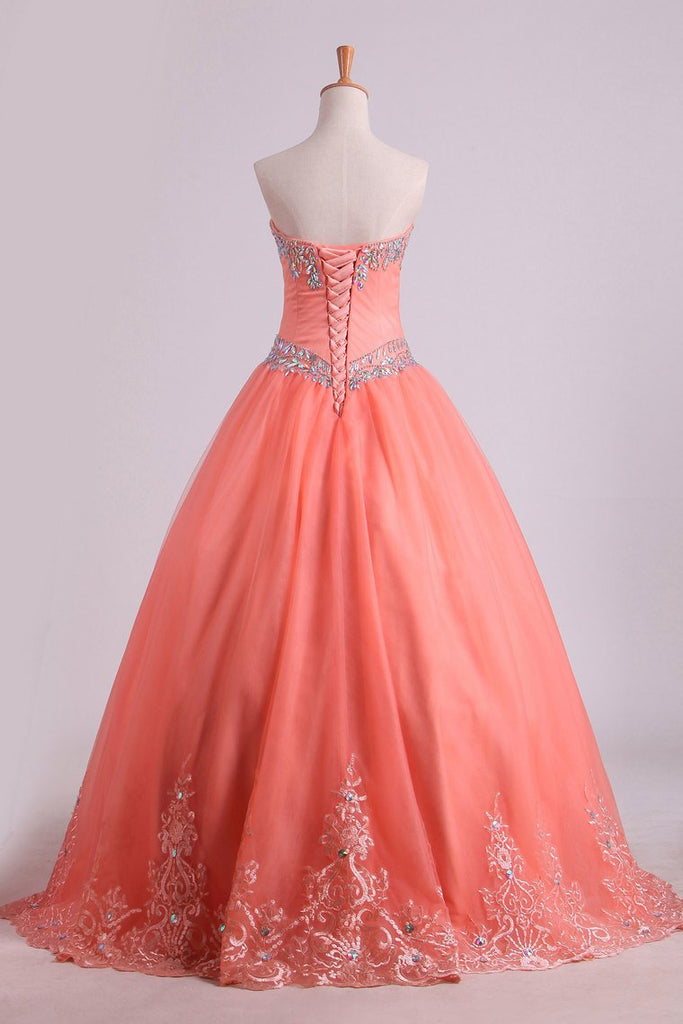 Quinceanera Dresses Ball Gown Strapless Tulle With Applique Floor Length