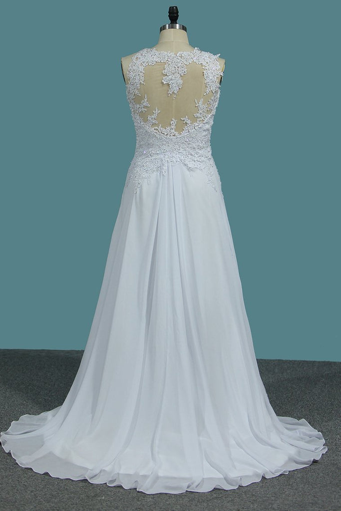 A Line Scoop Chiffon Wedding Dresses With Applique And Slit Sweep Train