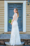 Simple Mermaid Lace Appliques Ivory Cap Sleeves Button Long V Neck Wedding Dresses WK856