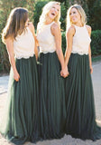 A Line Lace Bodice Green and White Tulle Long Round Neck Bridesmaid Dresses WK285