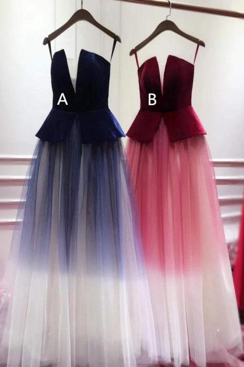 A Line Ombre Blue Tulle Long Prom Dress, Unique New Style Strapless Evening Dress PW840