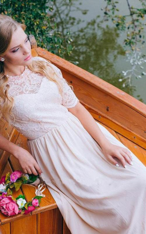 A Line Half Sleeve Lace Chiffon Ankle Length Prom Dress with Jewel Neckline WK274