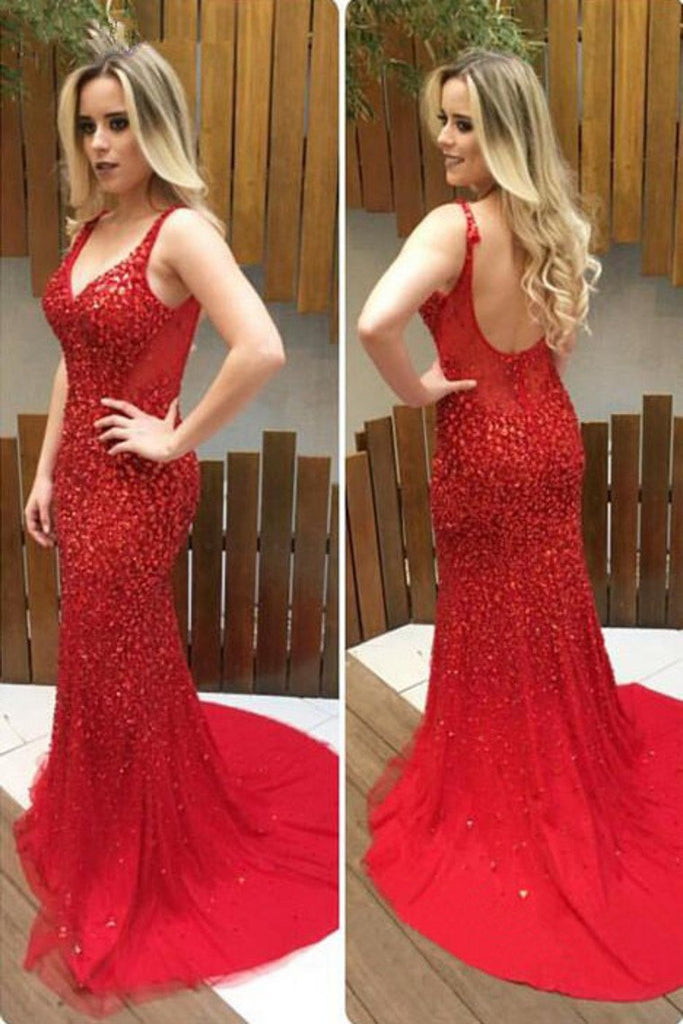 2019 Prom Dresses Straps Tulle With Beads And Rhinestones Mermaid