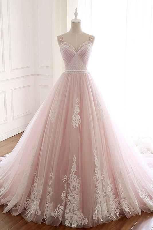 Unique A Line Pink Sweetheart Tulle Spaghetti Straps Long Lace Prom Dresses uk PW219