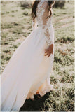 Princess A Line Long Sleeve Rustic Scoop Lace Appliques Tulle Ivory Beach Wedding Dress WK827
