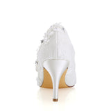 Ivory High Heels Wedding Shoes with Appliques Fashion Lace Woman Dress L-941