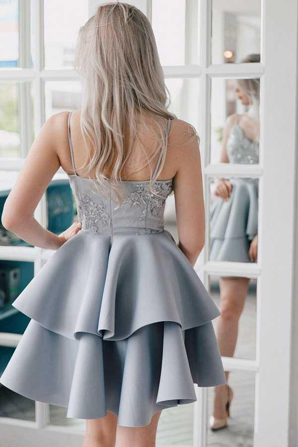 A Line V Neck Backless Satin Beaded Grey Spaghetti Straps Lace Homecoming Dresses WK921