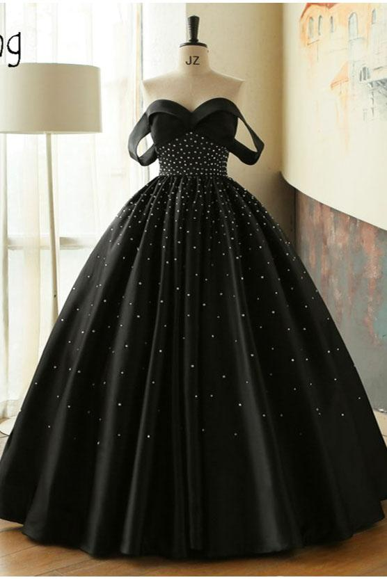 Ball Gown Black Sweetheart Off the Shoulder Satin Beading Prom Quinceanera Dresses WK67