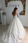 Ball Gown Lace Appliques Tulle Backless Cap Sleeve Wedding Dresses Bridal Dresses WK333