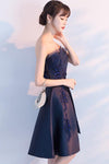 Navy Blue Beads Appliques Strapless A-Line Lace up Homecoming Dress Graduation Dress WK573