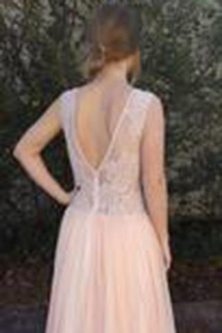 A-Line Peach Chiffon Sleeveless Pink Scoop Sweetheart Open Back Prom Dresses WK795