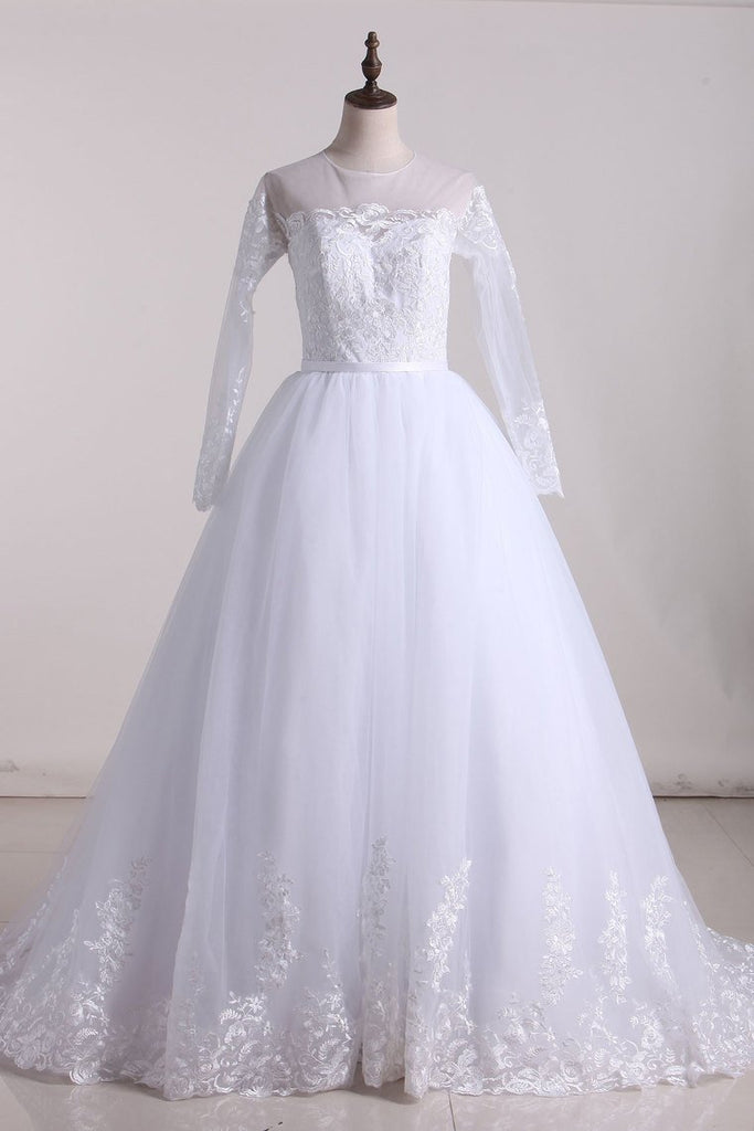 2019 A Line Scoop Long Sleeves Tulle With Applique And Sash Wedding Dresses