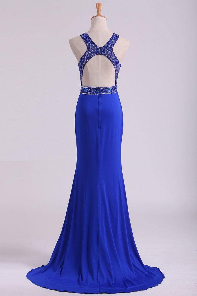 2019 Open Back Prom Dresses Scoop Spandex With Beading And Slit Sweep Train