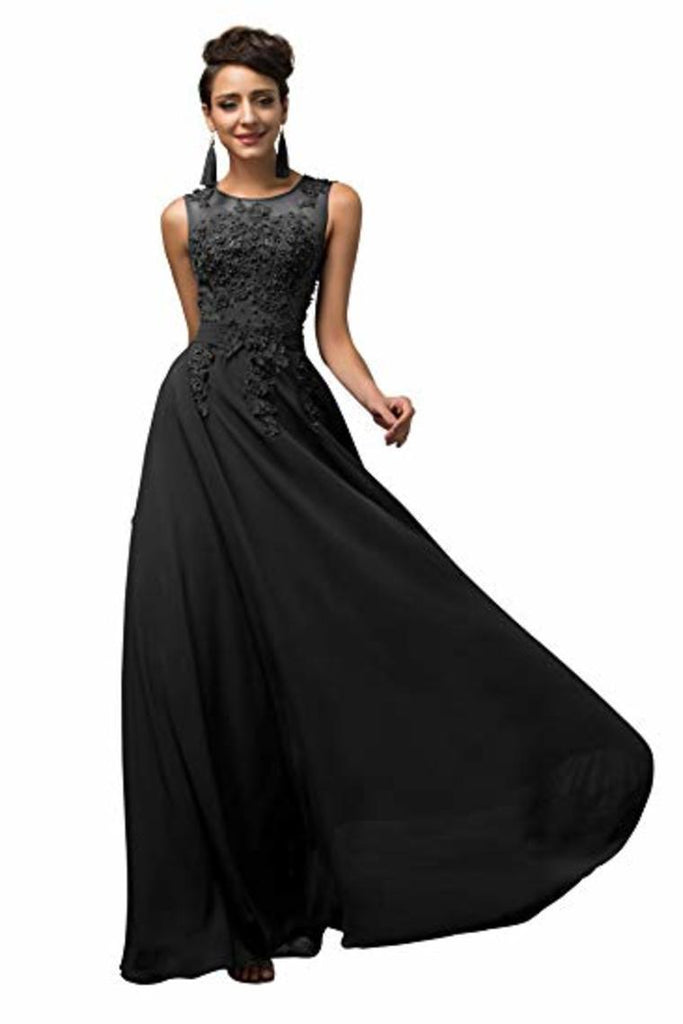 Lace Chiffon Round Neck A Line Wedding Bridesmaid Long Evening  Festive Party Dress