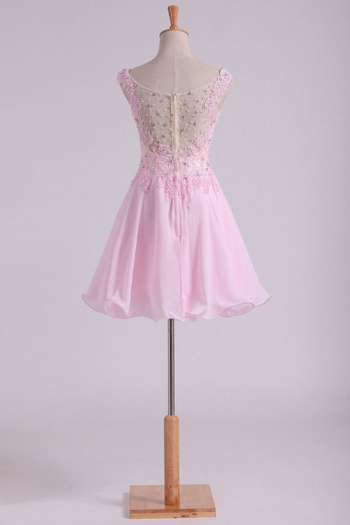 Bateau A Line Short/Mini Prom Dress Chiffon With Applique & Beads