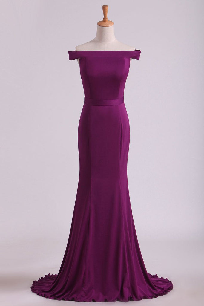 Grape Mermaid Boat Neck Spandex Floor Length Zipper Up Evening Dresses