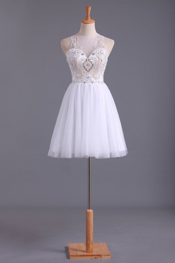 Homecoming Dresses Scoop A Line Tulle With Beading Short/Mini