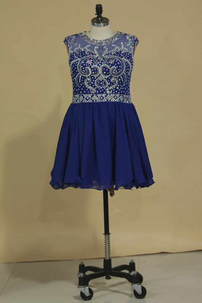 A Line Scoop Beaded Bodice Chiffon Short/Mini Homecoming Dresses