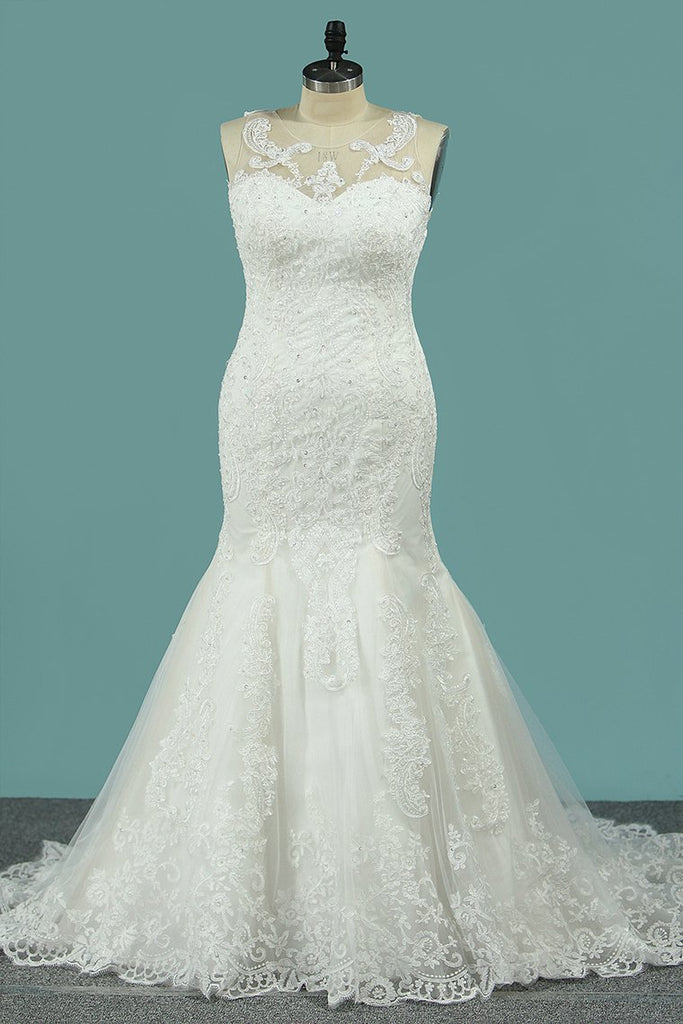 2019 Wedding Dresses Mermaid/Trumpet Scoop Tulle With Applique Court Train