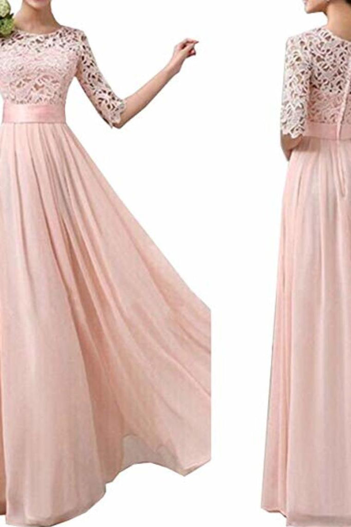 Lace Splice Chiffon Half Sleeve Floor Length Formal Bridesmaid Dresses