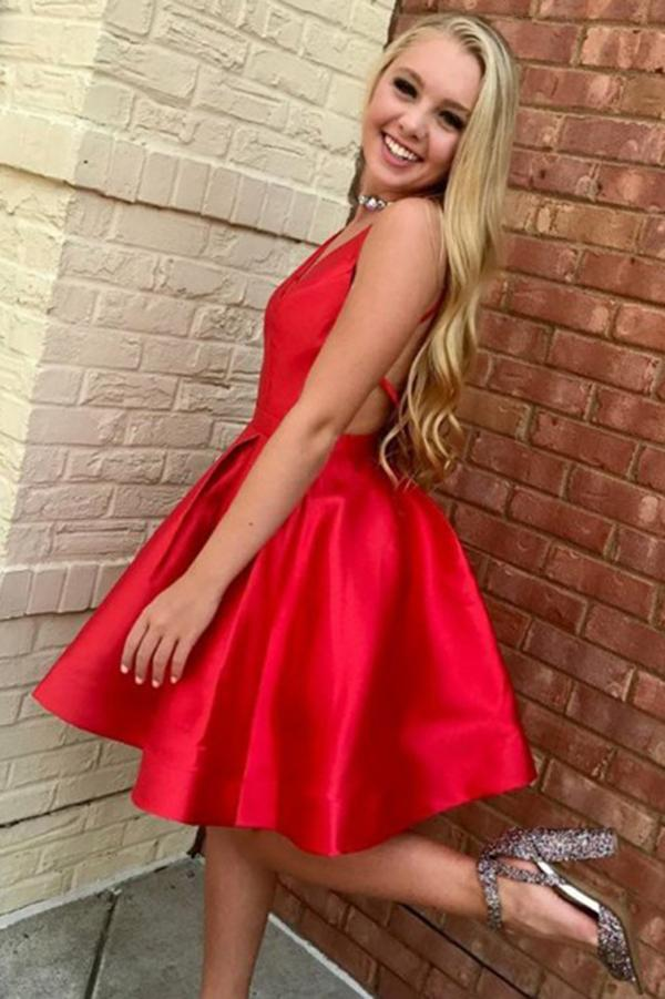 A-Line V-Neck Open Back Short Mini Red Satin Knee Length Homecoming Dresses WK662