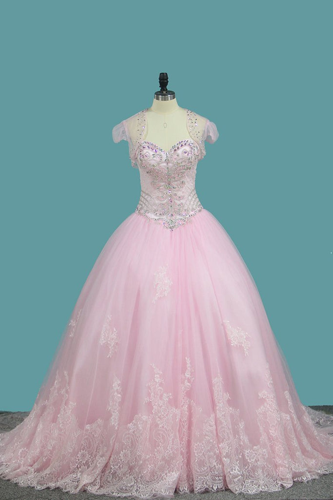 Sweetheart Ball Gown Quinceanera Dresses Applique And Beading Sweep Train