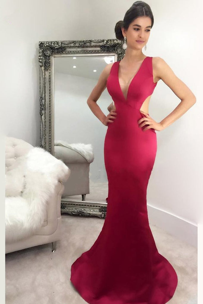2019 New Arrival V Neck Evening Dresses Mermaid Satin Sweep Train
