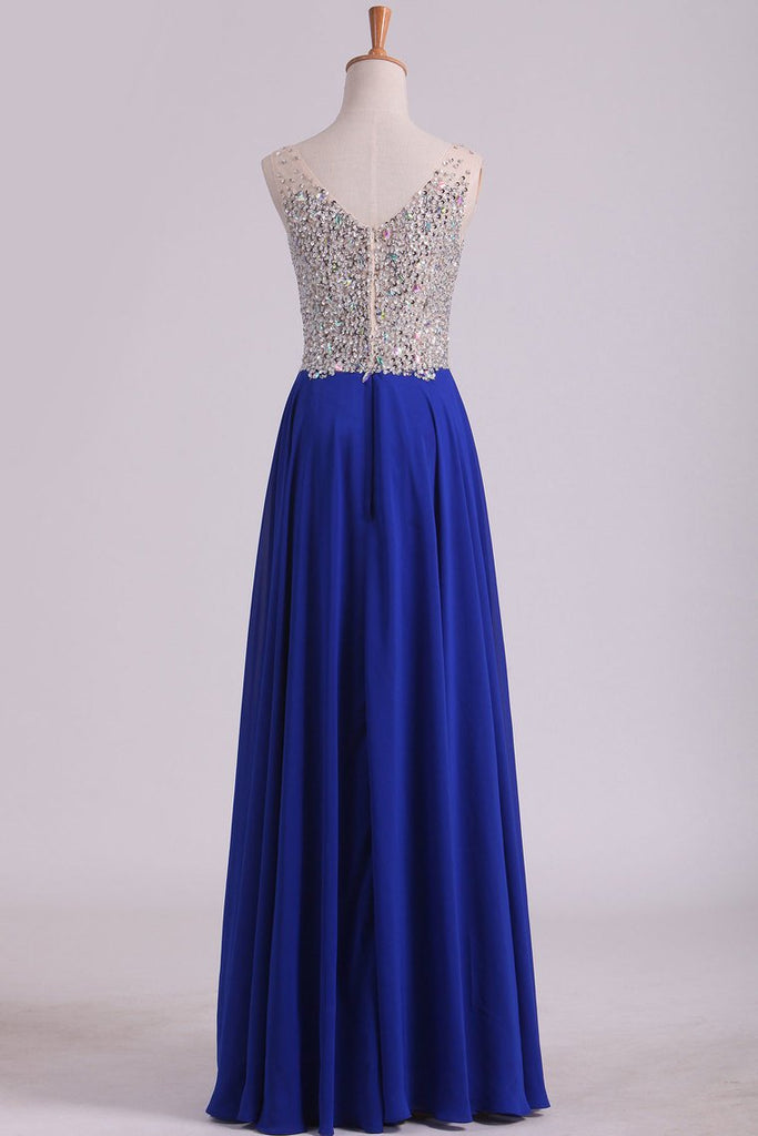 2019 V Neck Beaded Bodice A Line Prom Dresses Chiffon With Slit Sweep Train