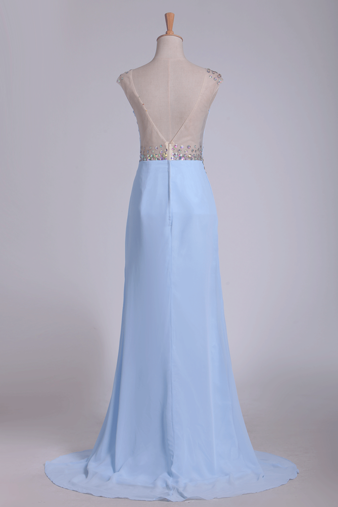 2019 Sexy Open Back Prom Dresses Column Scoop With Rhinestone Chiffon