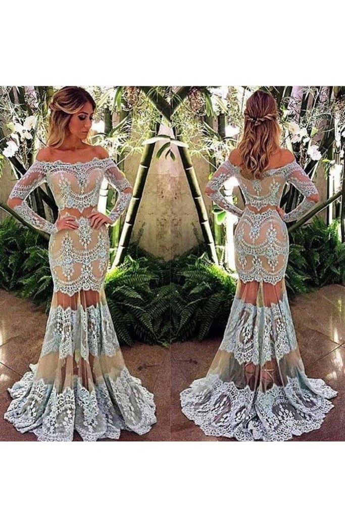 2019 Long Sleeves Prom Dresses Mermaid Boat Neck Tulle With Applique