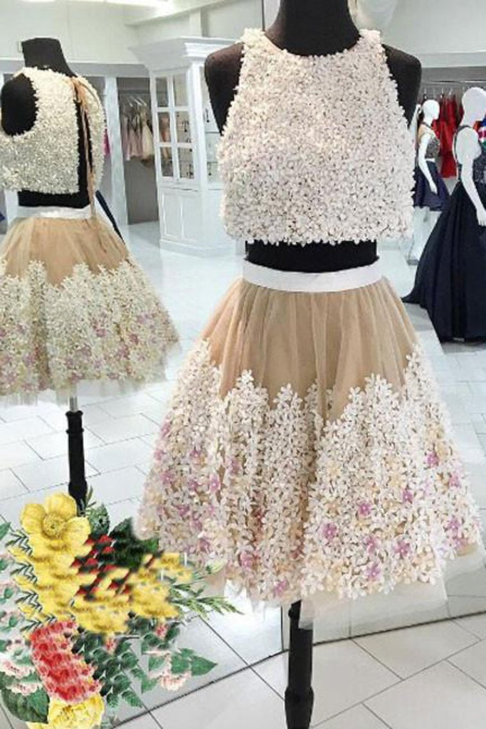 2019 Two-Piece Scoop Homecoming Dresses A Line Tulle With Handmade Flowers
