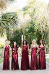 Sparkly Long Burgudny Sequin Shiny Wedding Party Dresses Bridesmaid Dresses