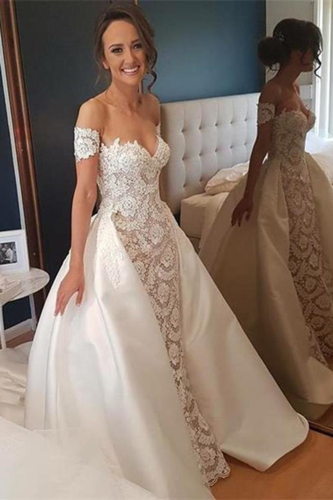 Pretty Of The Shoulder Lace Satin Long Wedding Dresses Wedding Gowns