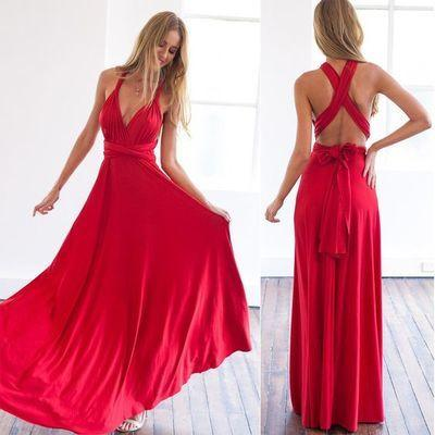 Backless Prom Dresses Sexy Open Backs Red Evening Dress Long Prom Dresses WK537
