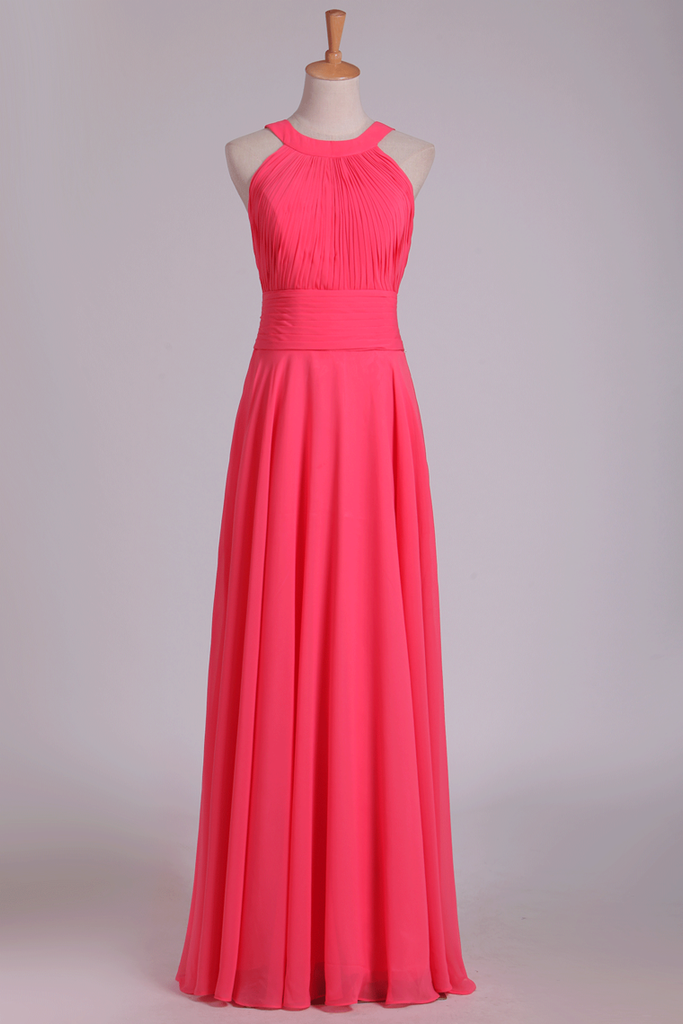 Bridesmaid Dresses Scoop Ruched Bodice Chiffon A Line Floor Length