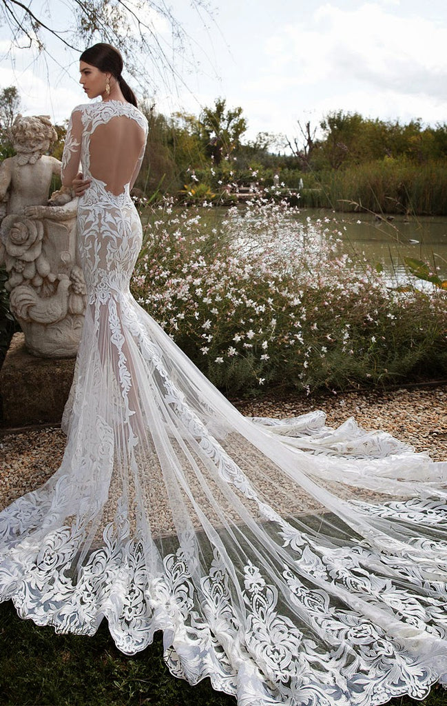 Vintage Long Sleeve Lace Open Back Floor-Length Mermaid Tulle White Wedding Dresses WK620