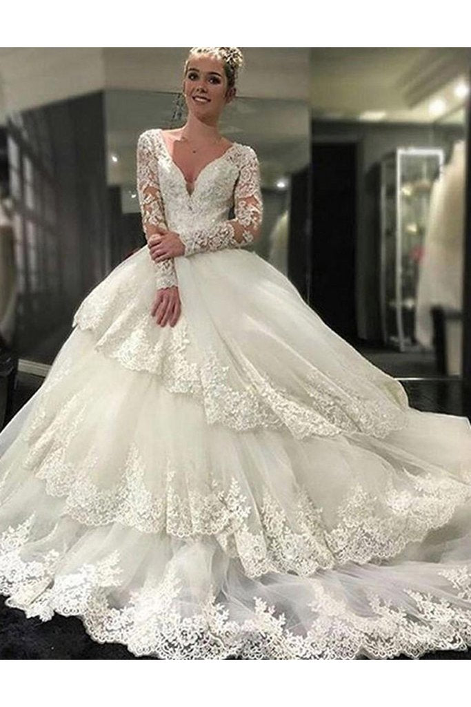 A Line Ivory Deep V-Neck Long Sleeves Lace Appliques Chapel Train Tiered Wedding Dress WK232