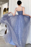 Unique Sparkle Straps Floor Length Tulle Prom Dress A Line Sleeveless Evening Dresses WK980