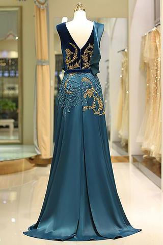 A Line V Neck Green Floor Length Satin Prom Dress with Backless Sequins Beading WK446