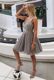 A Line Sweetheart Strapless Straps Tulle Beaded Grey Short Homecoming Dresses with Appliques WK950