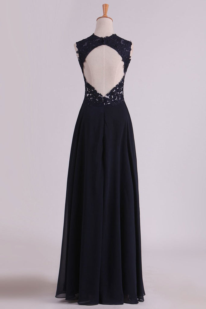 Straps Prom Dresses With Applique And Beads Open Back A Line Chiffon