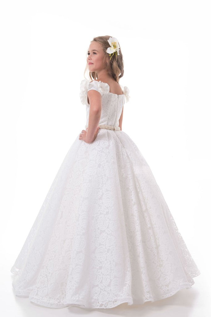 2019 Off The Shoulder A Line Lace Flower Girl Dresses With Handmade Flowers